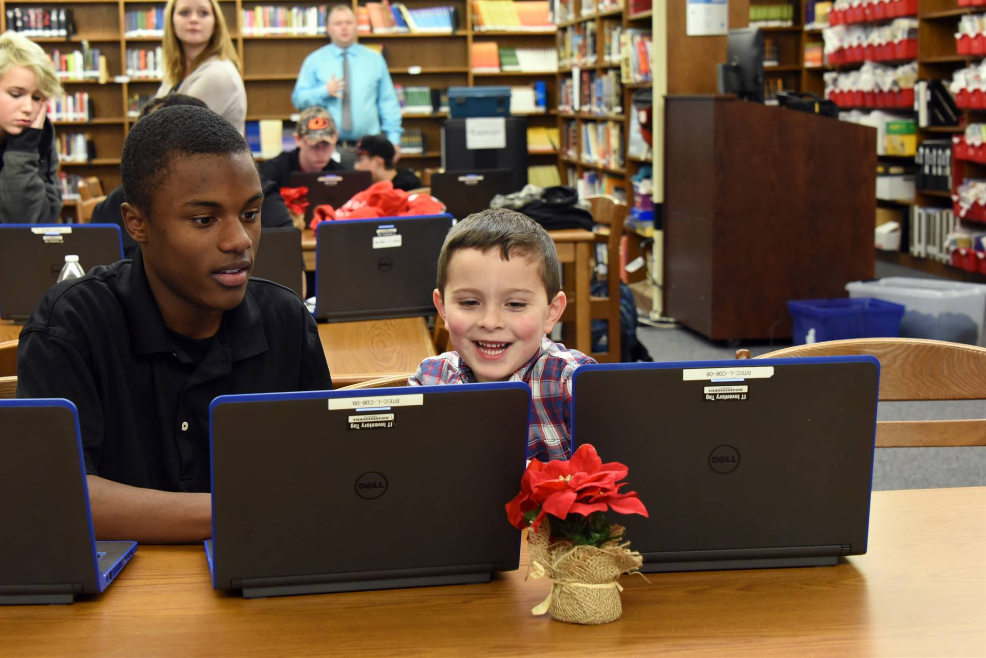 Preschoolers learn coding with PTECH students