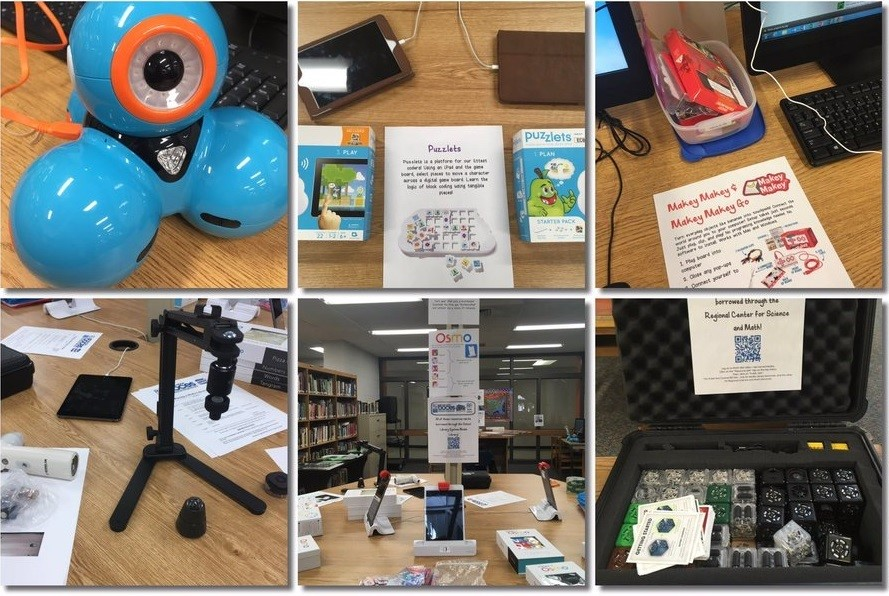 Library Resources: Dash & Dot Robotics, Puzzlets, Makey Makey, Microscope for iPad, Osmo, Cublets
