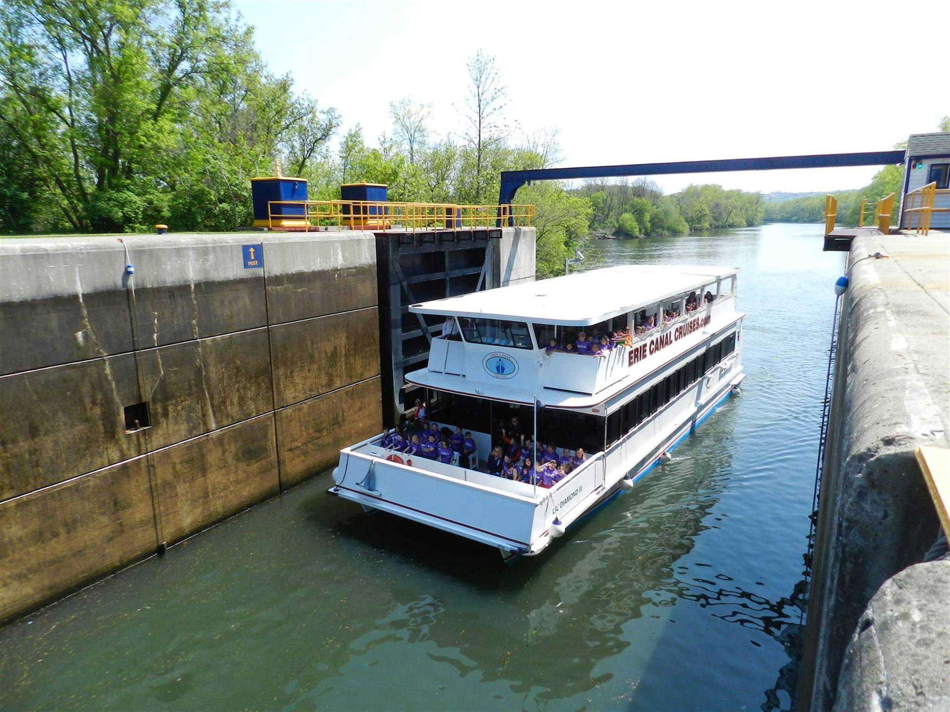 Erie Canal Cruise boat in lock