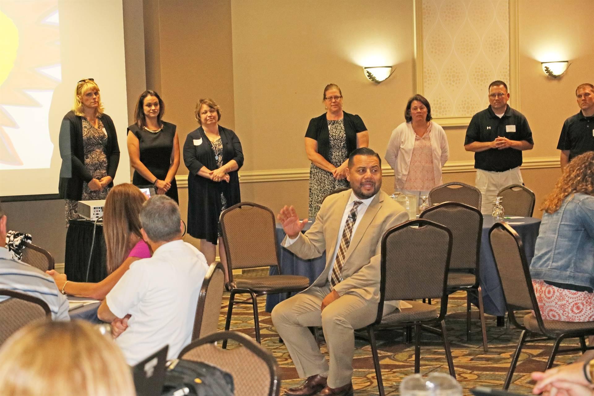 Principals' Academy keynote, Dr. Luis Cruz, addressing audience