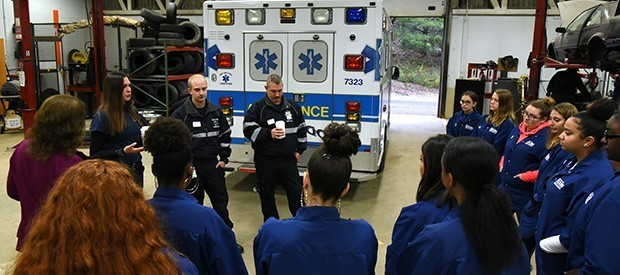 EMS volunteers share career experiences with Health Science students