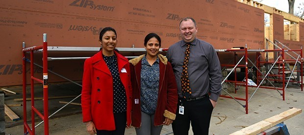 Foreign exchange teachers (l-r) Nirupama Kaushik and Jasmine Shah from India visit the Habitat for Humanity home project during a tour of BOCES October 31.