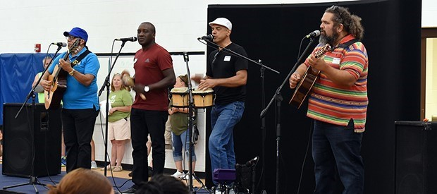 "The Miami-based Cuban band ""Cortadito"" entertains at Special Education Summer School"