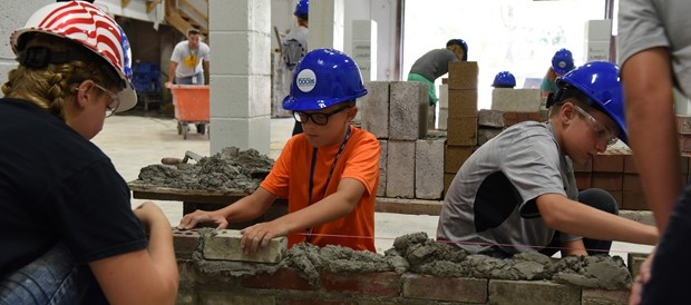 Fifth-graders learn masonry at CTE Summer Camp