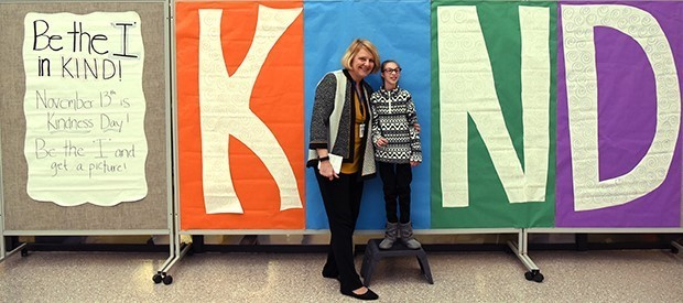 BOCES board president Sandra Ruffo and PALS student Jeana Whiting show their support for 'World Kindness Day'