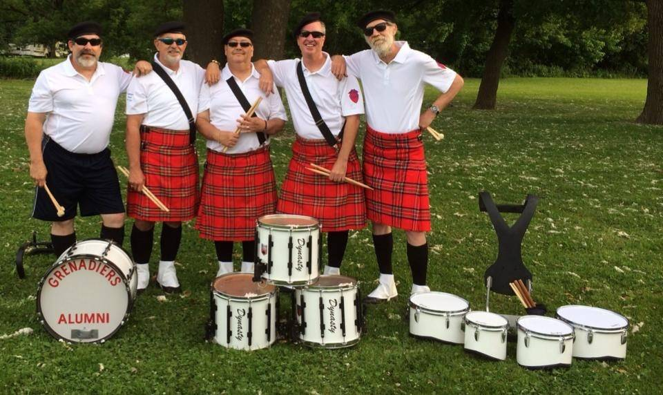 Grenadairs with their drums