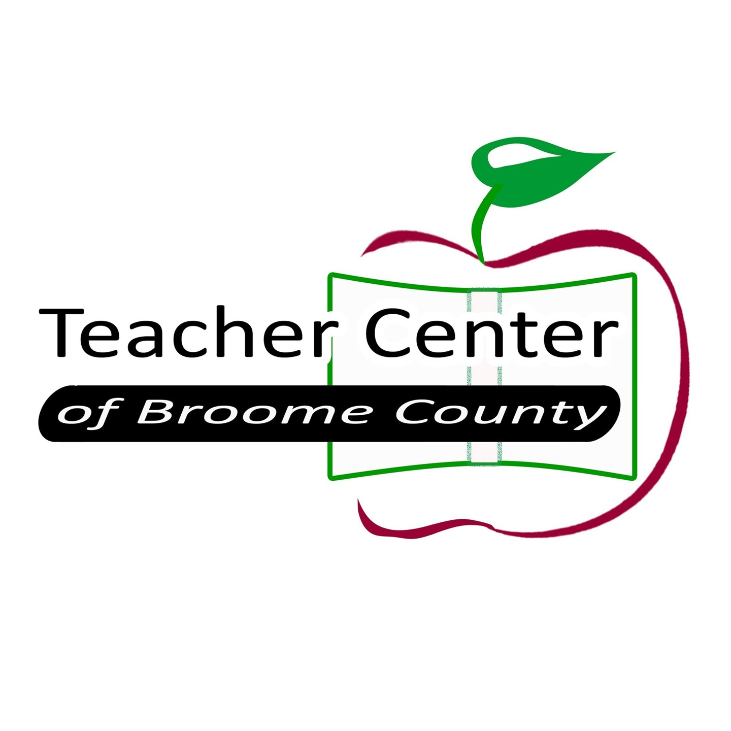 This is the Teacher Center of Broome County Logo. There is a half apple with a book across the apple. The apple is outlined red and has a green leaf.